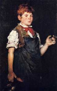 William Merritt Chase - el aprendiz alias  niño  fumar..