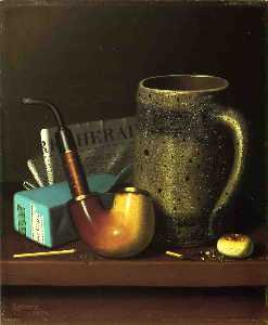 William Michael Harnett - Naturaleza muerta con pipa jar..
