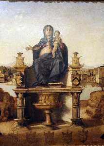 Benedetto Diana - madonna y niño enthroned enest..