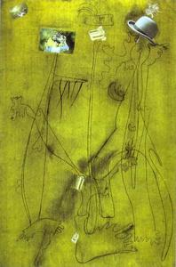 Joan Miro - Dibujo-collage con sombrero