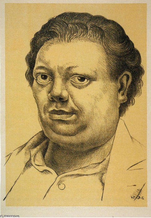 Self-Portrait 3, aceite de Diego Rivera (1886-1957, Mexico)