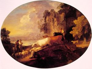 Thomas Gainsborough - río paisaje con rústico amantes