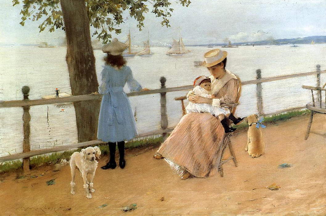tarde por el mar ( aka gravesend Bahía ), en colores pastel de William Merritt Chase (1849-1916, United States)