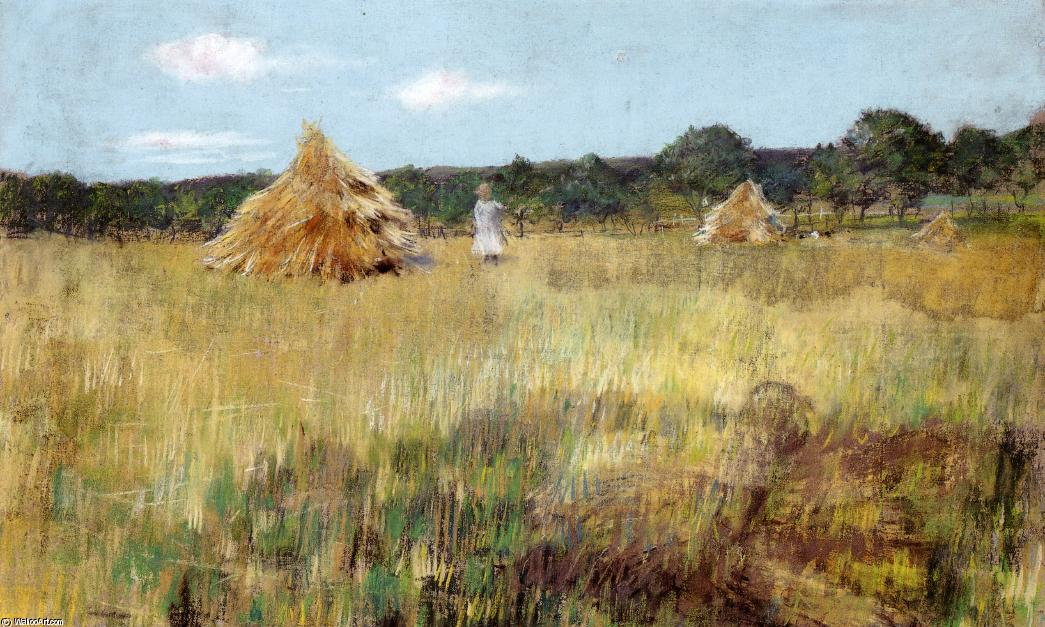 campo de grano , Shinnecock Colinas, en colores pastel de William Merritt Chase (1849-1916, United States)