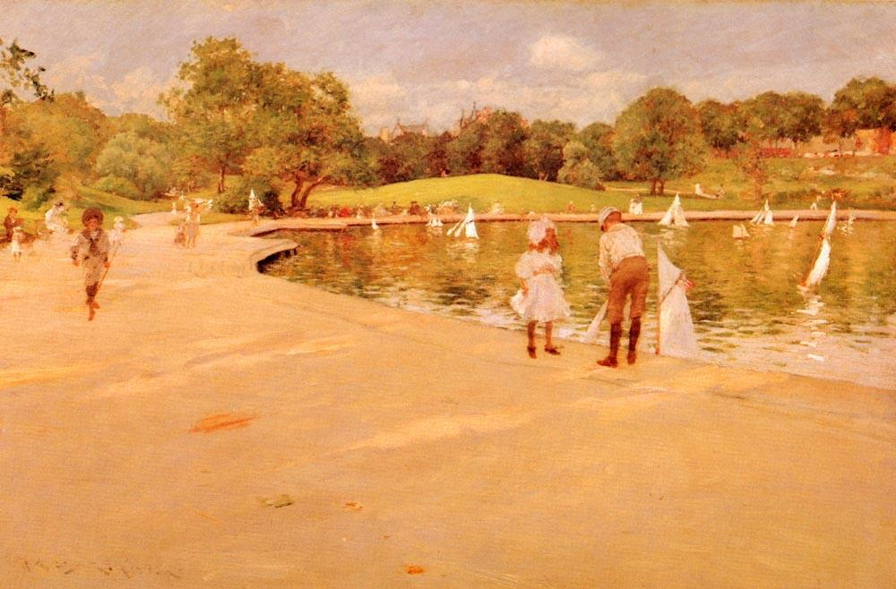 Liliputiense Boat-Lake - parque central, aceite de William Merritt Chase (1849-1916, United States)