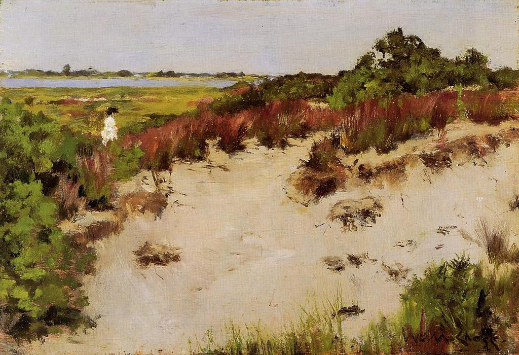 Paisaje Shinnecock, en colores pastel de William Merritt Chase (1849-1916, United States)