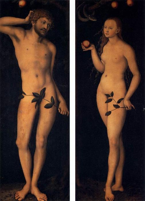Adán y Eva, aceite de Lucas Cranach The Elder (1472-1553, Germany)