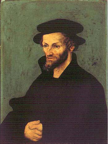 Retratos de Philipp Melanchthon, óleo de Lucas Cranach The Elder (1472-1553, Germany)