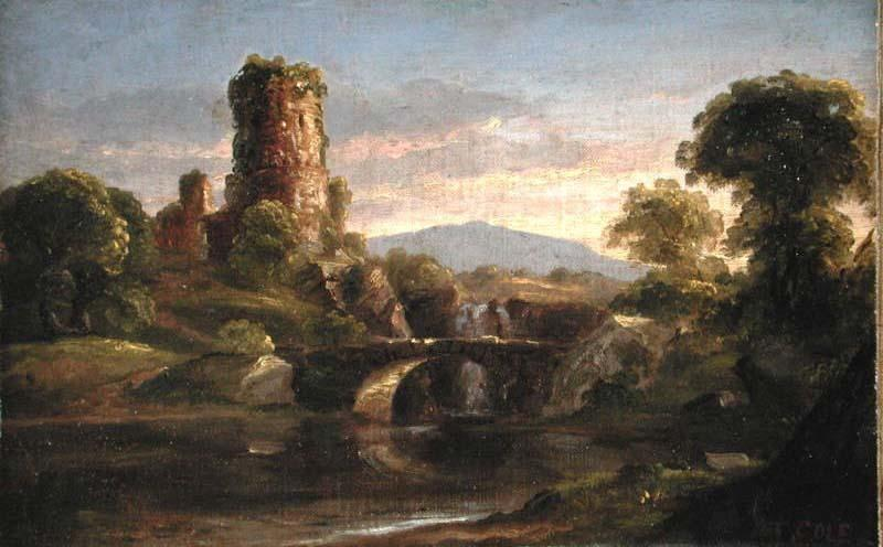 castillo y río, aceite de Thomas Cole (1801-1848, United Kingdom)