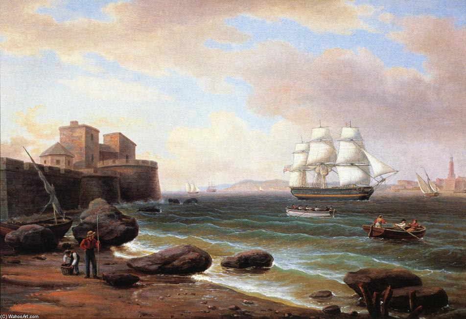 Buque Mercante estadounidense Entrando Marsella, aceite de Thomas Birch (1779-1851, United Kingdom)