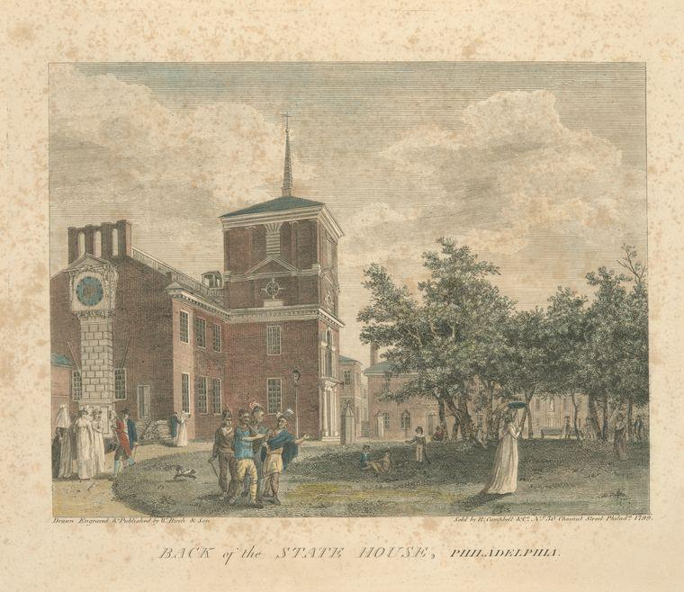 Atrás of el estado casa , Philadelphia, aceite de Thomas Birch (1779-1851, United Kingdom)