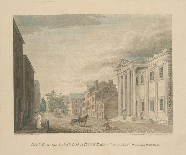 Billetedebanco of los unidos Estados , con un visión of Tercero Street Philadelphia, aceite de Thomas Birch (1779-1851, United Kingdom)