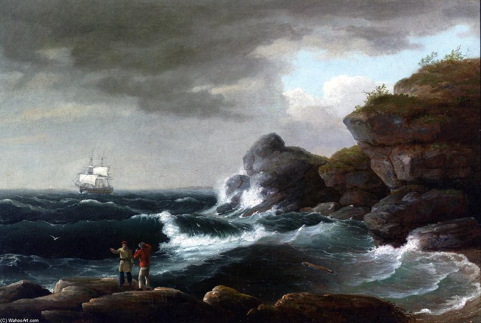 escena costera, óleo sobre lienzo de Thomas Birch (1779-1851, United Kingdom)