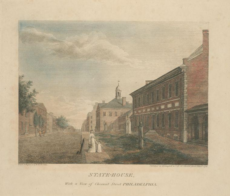 State-House , con un vista de Chesnut calle filadelfia, aceite de Thomas Birch (1779-1851, United Kingdom)