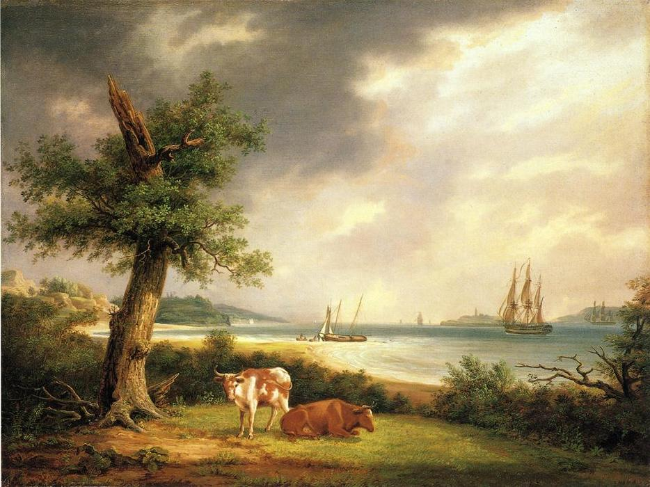The Narrows, Nueva York Bay, oleo en panel de Thomas Birch (1779-1851, United Kingdom)