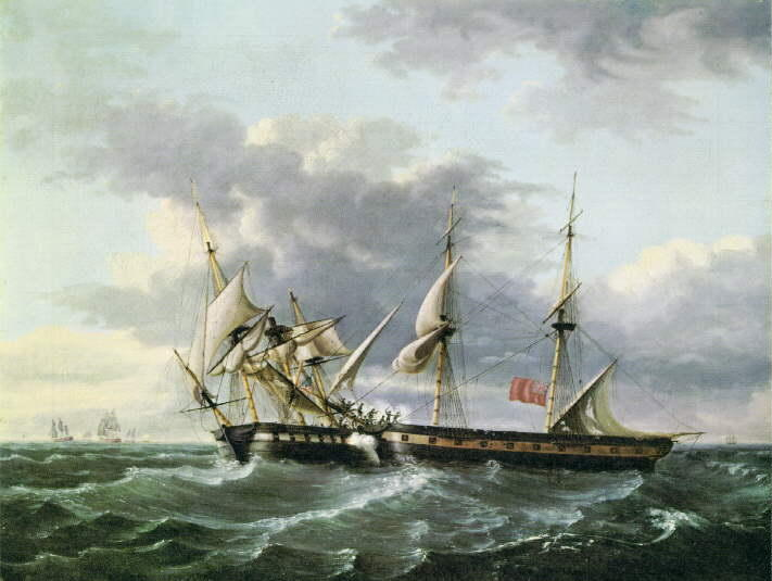 USS WASP embarque HM Brig FROLIC, óleo de Thomas Birch (1779-1851, United Kingdom)