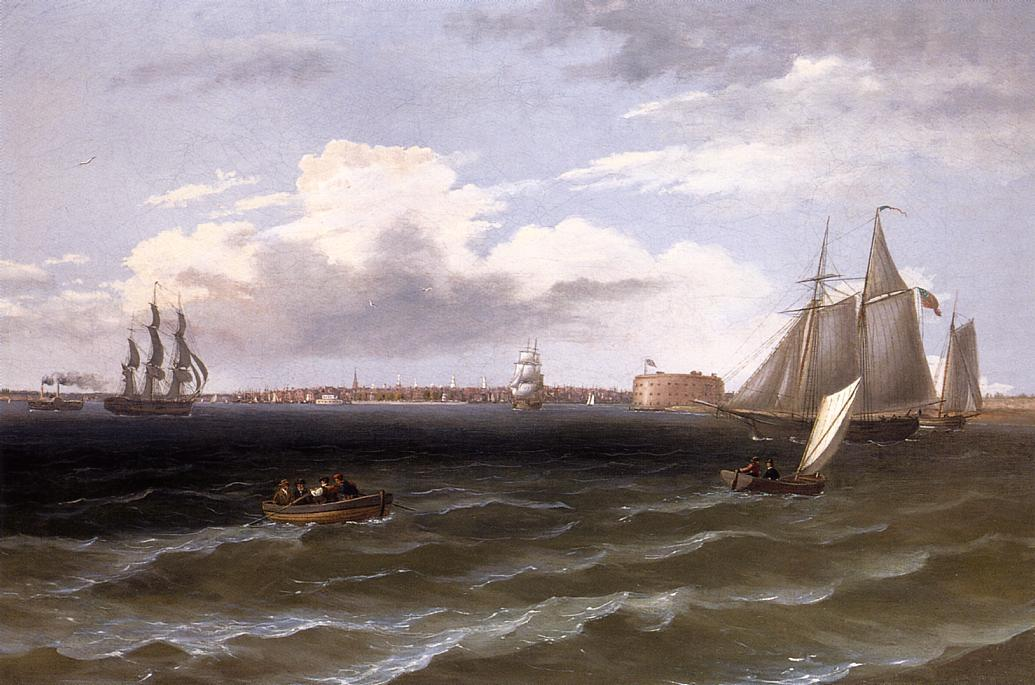vista de Nueva York puerto , óleo sobre lienzo de Thomas Birch (1779-1851, United Kingdom)