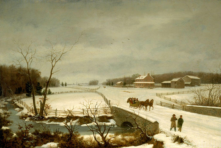 Escena del invierno, aceite de Thomas Birch (1779-1851, United Kingdom)