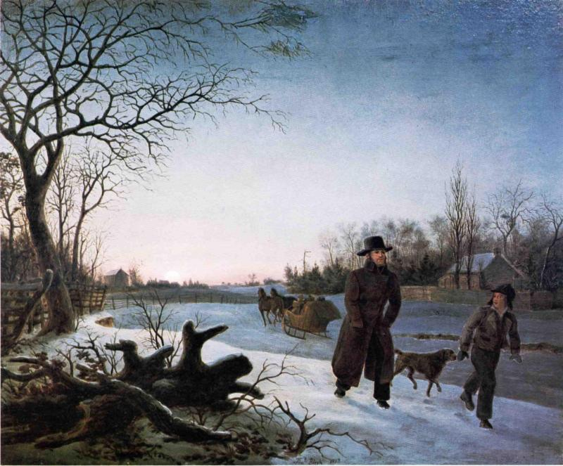 DE INVIERNO, óleo sobre lienzo de Thomas Birch (1779-1851, United Kingdom)