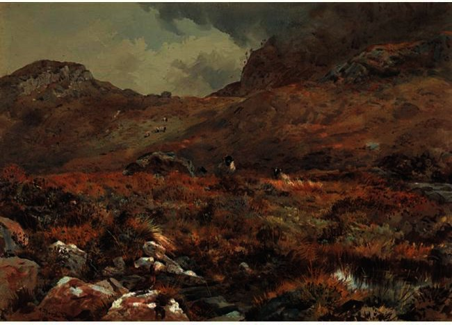 Ovejas descansando en un Grouse Moor, acuarela de Archibald Thorburn (1860-1935, United Kingdom)