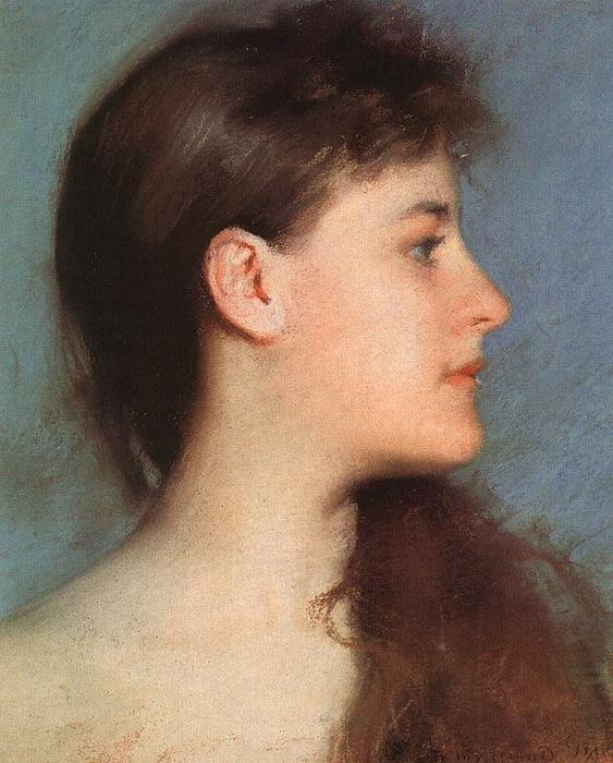 Perfil, pastel de Edmund Charles Tarbell (1862-1938, United States)