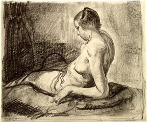 George Wesley Bellows - desnudo chica reclinando