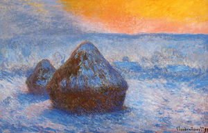 Claude Monet - Grainstacks en Sunset nieve  efecto