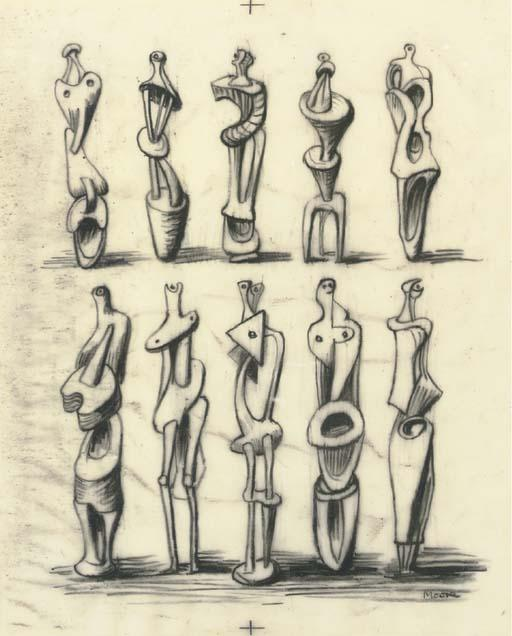 ideas` para metal de pie figuras, aceite de Henry Moore (1898-1986, United Kingdom)