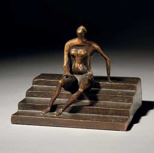 sentado figura on cuadrado `steps`, aceite de Henry Moore (1898-1986, United Kingdom)