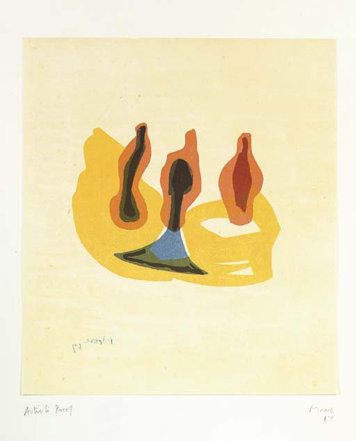 tres formas in orange y amarillo, aceite de Henry Moore (1898-1986, United Kingdom)
