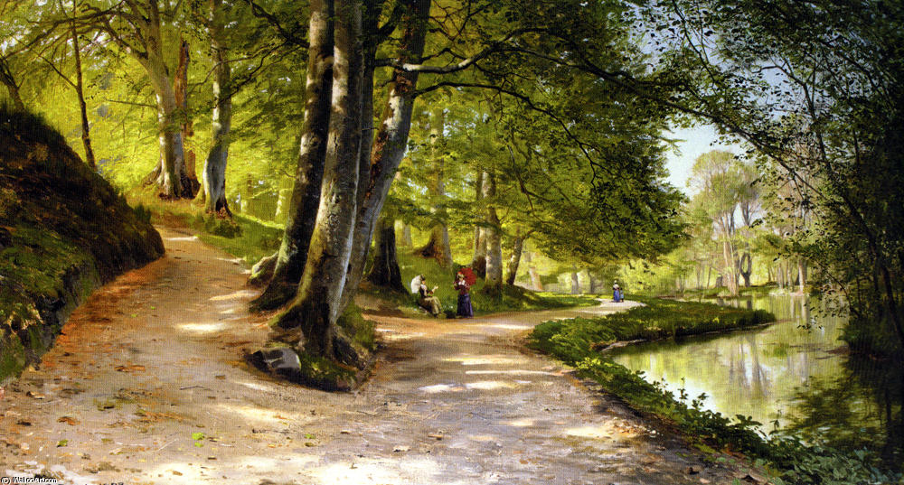 Den Rode Paraply, óleo de Peder Mork Monsted (1859-1941, Denmark)