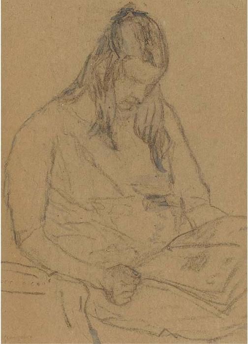 mujer joven leyendo a papel de Gwen John (1876-1939, United States)
