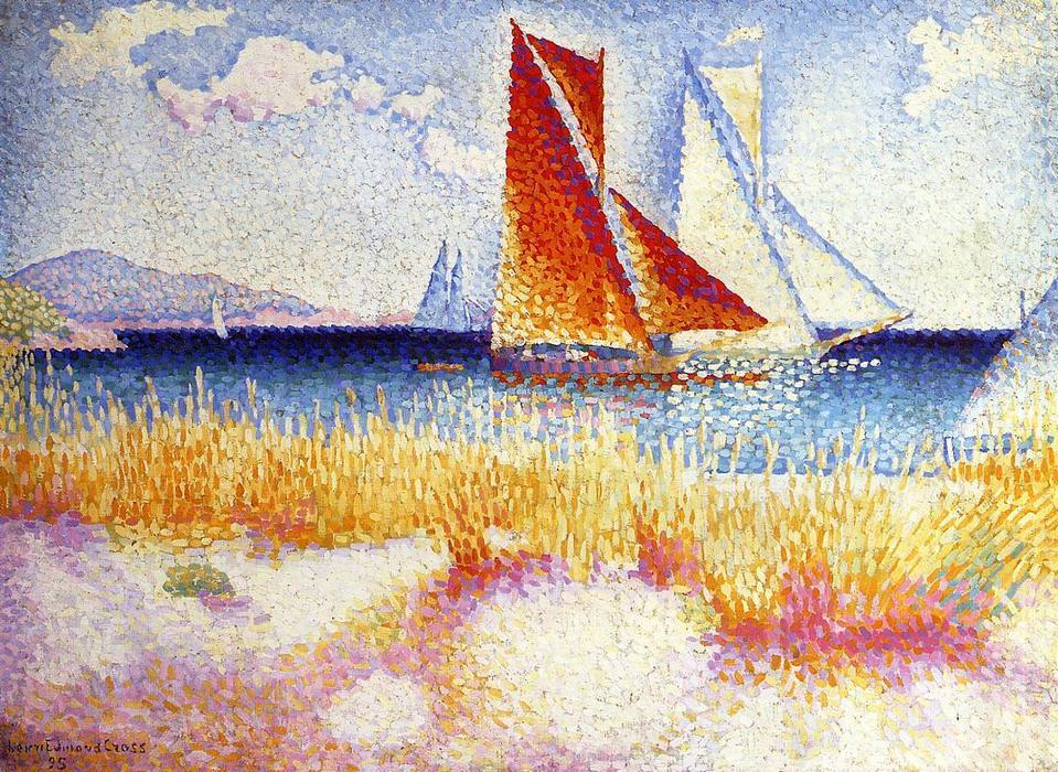Regata, óleo sobre lienzo de Henri Edmond Cross (1856-1910, France)