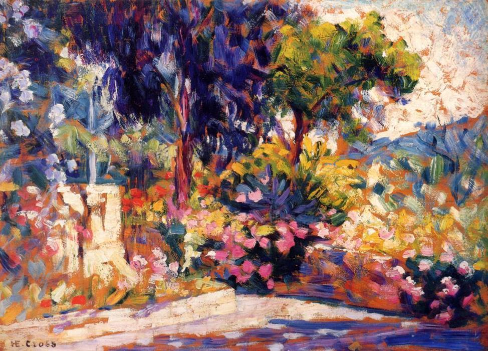 La florecida Árboles, oleo en panel de Henri Edmond Cross (1856-1910, France)