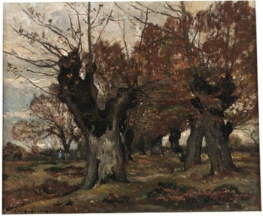 willow` en un paisaje de Henri-Joseph Harpignies (1819-1916, France)