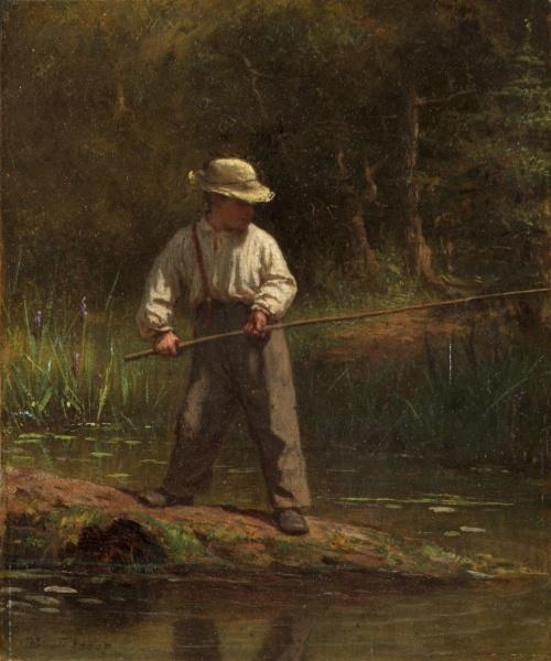 niño pesca de Jonathan Eastman Johnson (1824-1906, United Kingdom) | Copia De La Pintura | ArtsDot.com