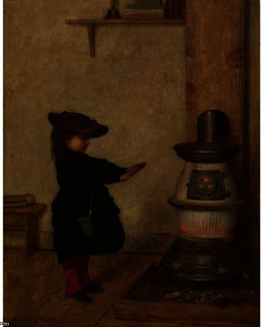 Calentamiento Sus Manos de Jonathan Eastman Johnson (1824-1906, United Kingdom)