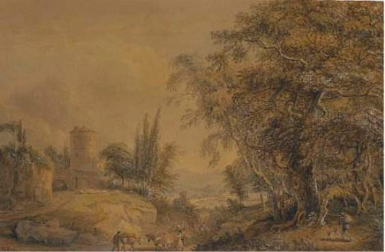a rural paisaje de Paul Sandby (1798-1863, United Kingdom)