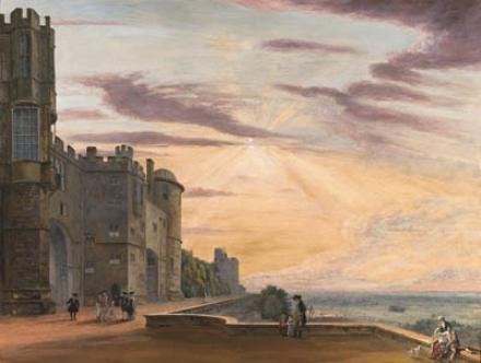 el norte terraza de `windsor` castillo buscando oeste de Paul Sandby (1798-1863, United Kingdom)