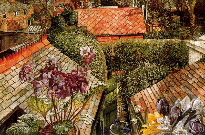 Cookham . flores en a ventana de Stanley Spencer (1891-1959, United Kingdom)