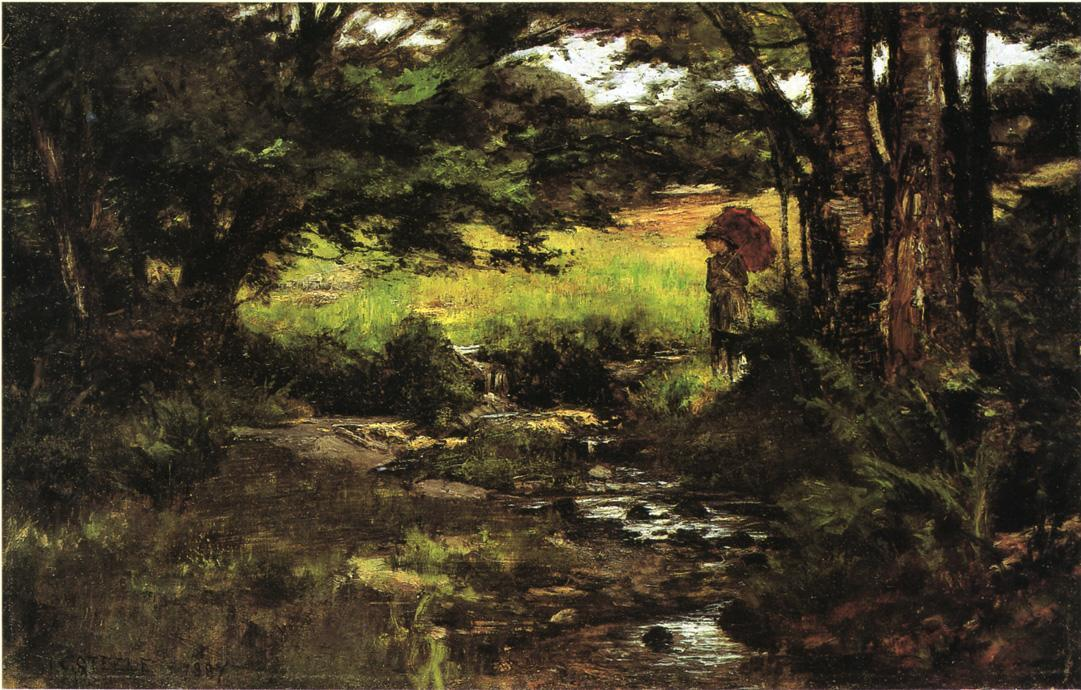 Brook en maderas de Theodore Clement Steele (1847-1926, United States)