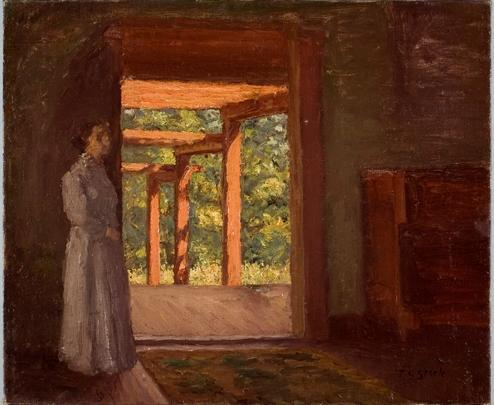 Lady in the Doorway de Theodore Clement Steele (1847-1926, United States) | ArtsDot.com