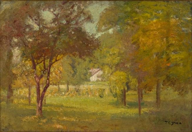 Paisaje y White Cottage de Theodore Clement Steele (1847-1926, United States)