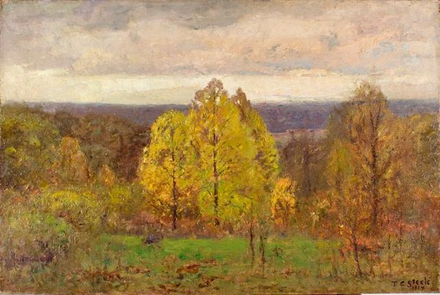 El Sky Breaking Otoño  Américaseptentrional  cuesta  de Theodore Clement Steele (1847-1926, United States)