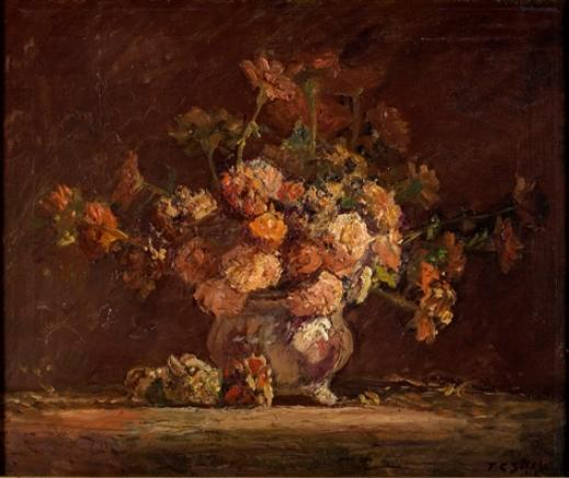 Zinnias de Theodore Clement Steele (1847-1926, United States)
