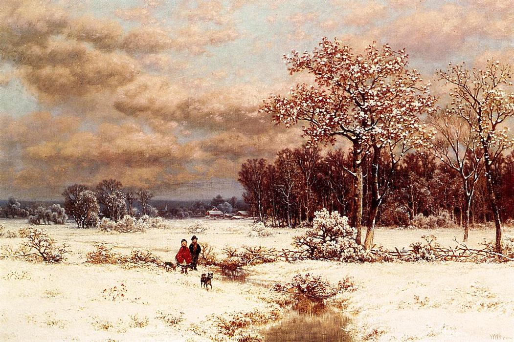 niños en Un  nevado  paisaje del , óleo sobre lienzo de William Mason Brown (1828-1898, United States)