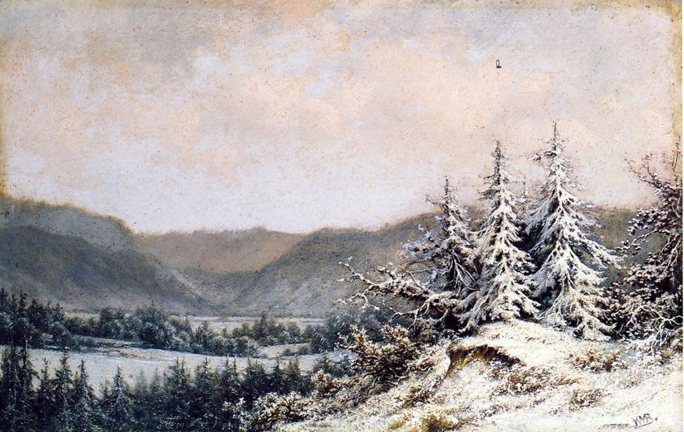 principios nieve, Óleo sobre tabla de William Mason Brown (1828-1898, United States)