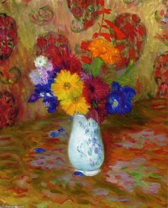 William James Glackens - Flores contra una hoja de palma Pettern