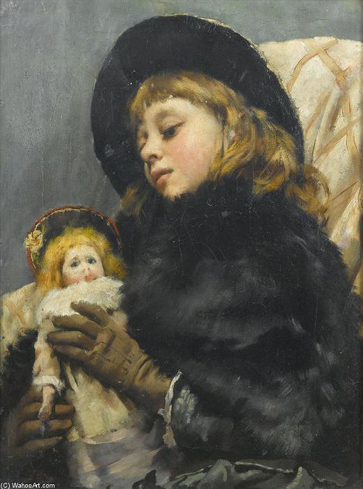 chica con muñeca de Thomas Benjamin Kennington (1856-1916, United Kingdom) | Copia De La Pintura | ArtsDot.com