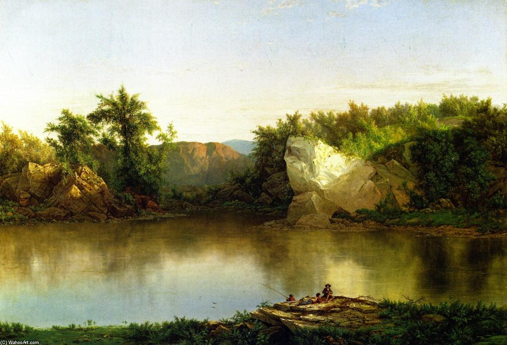 paisaje con figuras, óleo sobre lienzo de William Mason Brown (1828-1898, United States)